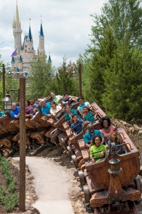 "A springtime opening is planned for the Seven Dwarfs Mine Train, a rollicking family-style coaster and the crown jewel of New Fantasyland at the Magic Kingdom Park. Walt Disney World Resort guests will be treated to an exciting, musical ride into the mine ""where a million diamonds shine"" as the lovable world of Sleepy, Doc, Grumpy, Bashful, Sneezy, Happy and Dopey comes to life. One feature will be first-of-its-kind ride vehicles mounted in cradle-like pivots that allow the vehicles to swing back and forth during the ride. Adding to the fun, the journey will be accompanied by beloved music from the Disney film classic. On their adventure, riders pass by animated figures of Snow White, the Seven Dwarfs and playful forest critters. The attraction will complete New Fantasyland, the largest expansion in Magic Kingdom history. Walt Disney World Resort is in Lake Buena Vista, Fla. (Ryan Wendler, photographer)"